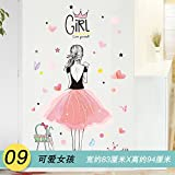 Znzbzt Wandmalerei Wohnzimmer Wandverkleidungen Wand kreativ Selbstklebend 3D Wall Mount, Mädchen