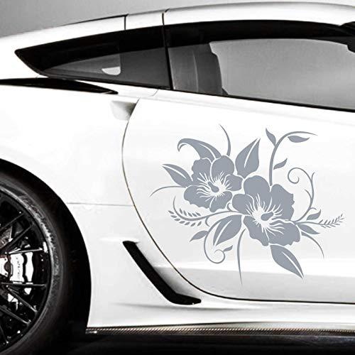 INDIGOS UG Aufkleber - 2er Set Autoaufkleber Hibiskusblüten je 60cm x 72cm Silber - Tuning Carystyling Heckscheibe Auto
