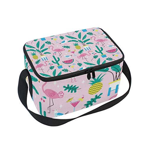 ALINLO Flamingo Ananas-Muster Lunchtasche mit Reißverschluss, isolierte Kühltasche, Lunchbox Meal Prep Handtasche für Picknick, Schule, Damen, Herren, Kinder -