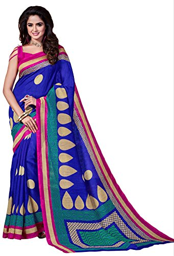 Classic Enterprise Sarees Daily Wear Stripe & Geometric Print Royal Blue-Color Cotton Sari With Blouse (Malgudi-4494)