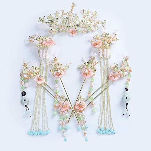 Kostüm Chinesischen Nationalen Weiblich - JOEY Braut Kostümset Kopfbedeckung Hanfu Zeigen Wo Bekleidungszubehör Phoenix Krone verstärkt chinesische Hochzeit national Kostüm Hai R-Zubehör