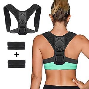 Nakeey Sports Haltungskorrektur Geradehalter Rücken Schulter Gürtel,Schwarz Verstellbar Atmungsaktiv Geradehalter Schultergurt Rückenbandage Haltungstrainer für Damen Herren