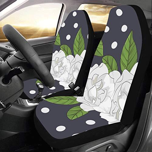 Elegante duftende Gardenia Benutzerdefinierte Universal Fit Auto Drive Autositzbezüge Protector Für Frauen Automobil Jeep Truck Suv Fahrzeug Full Set Zubehör Für Erwachsene Baby (set Von 2 Front) -