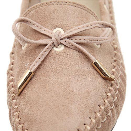 YY-Rui Slip femme sur Flat Loafer Driving Suede Casual Shoes Beige