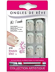 FAUX ONGLES AVEC COLLE - ROMANCE BLANC N 01 - MISS MISS