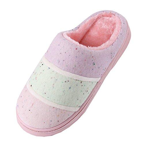 coton tricoté pantoufles à domicile-Unisexe hiver chaud peluche chaussures bootie Rose