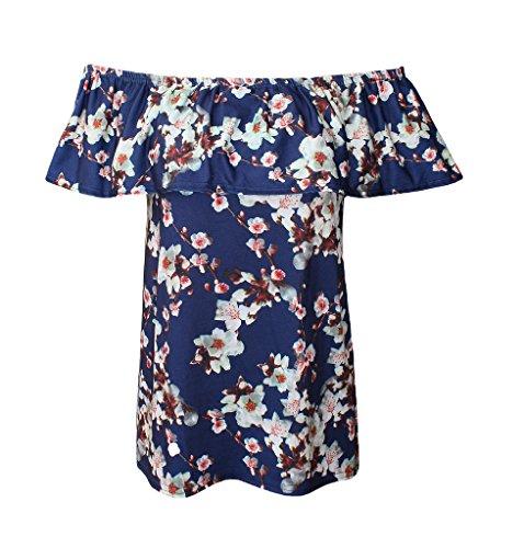 WearAll - Épaule Off cultures plaine court Bandeau Ladies Open Cowl Neck Haut - Hauts - Femmes - Tailles - 36-42 White Blossoms