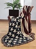 Homescapes handgewobener Überwurf Flagge Amerika 125 x 150 cm 100% reine Baumwolle - USA Stars & Stripes Jacquard Sofaüberwurf Sesselüberwurf Decke mit Fransen