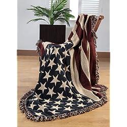 Homescapes - Coperta in puro cotone raffigurante la bandiera americana, bordata con frange, 125 x 150 cm