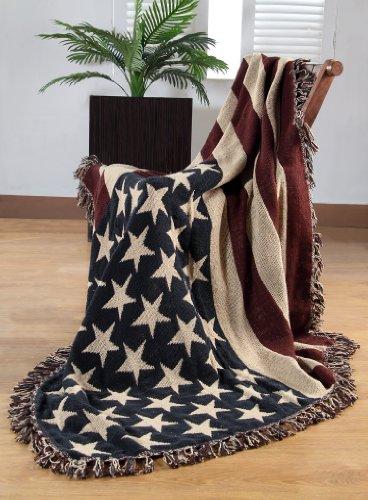 Homescapes handgewobener Überwurf Flagge Amerika 125 x 150 cm 100{b134375f659e9d5ca1f6e0c89faadb0d679c5c20953bec70d98b5bb3b3263054} reine Baumwolle – USA Stars & Stripes Jacquard Sofaüberwurf Sesselüberwurf Decke mit Fransen