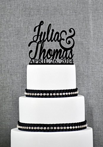 Wedding Cake Toppers with First Names and Date Unique Personalized Engagement Present Elegant Custom Gift Cake Toppers by Loihuen (Elegante Hochzeit Cake Topper)