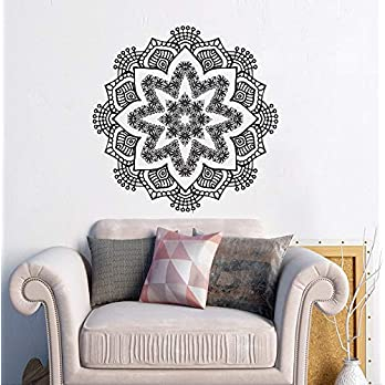Mandala Wandtattoo | Mandala Lotus Blumendekor | Mehndi Wandaufkleber | Yoga Studio Aufkleber | Hergestellt in Polen | Oracal | Boho indisches Schlafzimmer | Mandala böhmische Wandkunst | MN1068