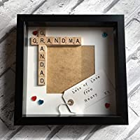 "Nanny Grandad Grandma Grandpa Scrabble Art Personalised Photo Frame (9x9"") Created by CleverCHIC"