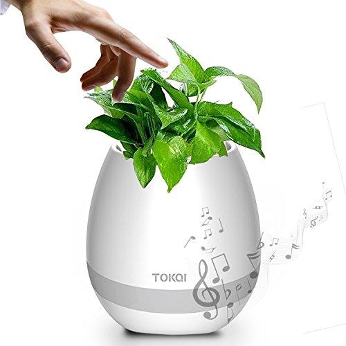 Musik Blumentopf,NASUM Bluetooth-Player kreative Blumentöpfe,Klavier spielen auf einem echten Pflanze Festival Geschenk Blumentopf Nachtlicht Smart Touch Musik Pflanze Lampe wiederaufladbare (weiß)