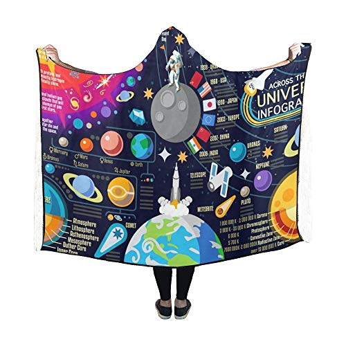Zemivs Mit Kapuze Decke Raum 3 D Galaxy New Horizons Universe Decke 60 x 50 Zoll Comfotable Hooded Throw Wrap -
