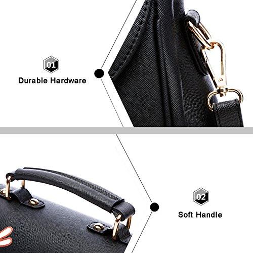Sacchetti di cartone animato di Yoome per le donne che stampano la borsa del flap Borse della maniglia della parte superiore Sacchetto di Tote dellannata - nero puro Grigio