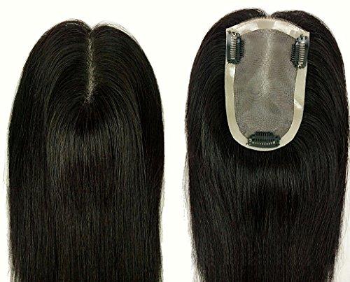 remeehi Echthaar Top Pony Extensions Clip In/Klebstoff Mono Hair Topper Hand Made Top Stück Schließung Toupets für Haar verlieren Clip Ich Hair Extensions Braun