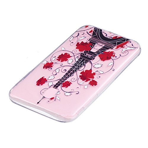 Coque Galaxy J5 2017, étui Galaxy J5 2017, ISAKEN Coque pour Samsung Galaxy J5 2017 - étui Housse Téléphone le soulagement étui TPU Silicone Souple Coque Ultra Mince Gel Doux Housse Motif Arrière Case tour fleur rouge