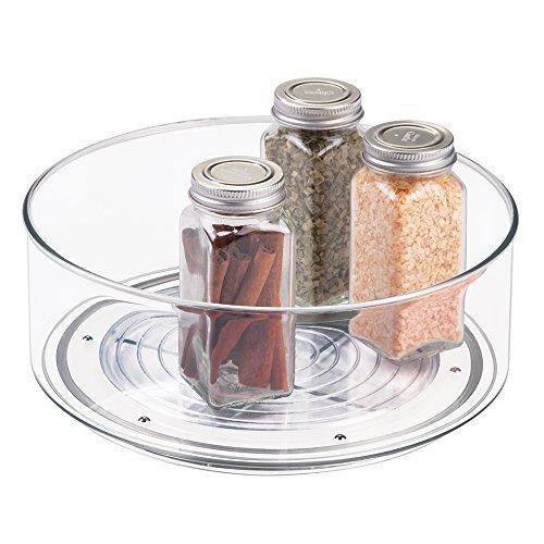 mDesign Lazy Susan Gewürzregal für Küchenschrank und Küchentisch – praktisches Küchenregal für Küchenutensilien – drehbarer Gewürzhalter aus Kunststoff – durchsichtig (Lazy Susan Küchenschränke)