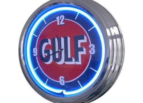 Neonuhr Gulf Letter Wanduhr Deko-Uhr Leuchtuhr USA 50's Style Retro Uhr