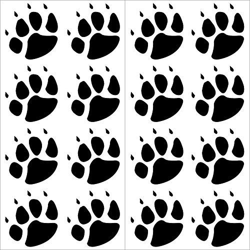 Preisvergleich Produktbild 16er Set Sticker Tier-Pfoten I kfz_155 schwarz I 4 x 4 cm I Hunde-Pfoten Katzen-Pfoten Tatzen klein Auto-Aufkleber Motorrad Roller Laptop wetterfest