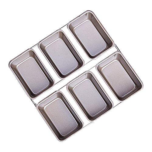 E-CHENG Mini Loaf Pan Rectangle DIY Cake Mold Non-Stick Bakeware Carbon Steel Bread Tin Baking Mould Home Party Kitchen, 21.8x21cm Gold - Non-stick Loaf Pan