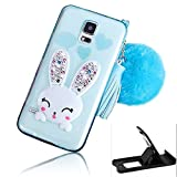 MYZ Guard Samsung Galaxy S5 GT-I9600 S5 Neo SM-G900F SM-G903F Pom Pom Bunny Phone Case, Cute Rabbit Style Plush Fur Ball Diamond Tassel Soft TPU Gel Back Case Cover Rubber Bumper (Samsung Galaxy S5 I9600, Blue) + Samsung S5 'Anti-Explosion' Tempered Glass Crystal Clear Screen Protector Film + Universal Multi-Angle Adjustable Phone Holder Cradle Stander , 3 in 1 Phone accessories