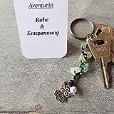 Schlüsselanhänger, Taschenbaumler, Kettenschmeichler, Edelstein Aventurin, Tatting, Occhi