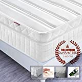 4FT6 Double Pocket Sprung Mattress with Memory Foam and 3D Breathable Fabric - Multi-Functional 9-Zone Orthopaedic Mattress - 10.6-Inch Deep - More Sizes Available: 2FT6 Small Single / 3FT Single / 4FT small Double / 5FT UK King Size / 6FT Super King Size