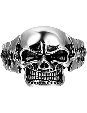 Oidea Herren Armband, Punk Rock Edelstahl poliert Biker schwer Groß Schädel Totenkopf Armreifen, silber schwarz