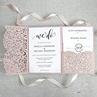 SAMPLE/50/100 DIY Set Laser Cut Misty Rose Blush Wedding Invitation Pocket We Heart Do Day Invite, Evening Invite, Guest Information, RSVP