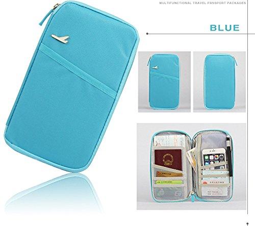 Preisvergleich Produktbild anyang Reise-Reißverschluss Bifold-Anmeldeinformationen Inhaber-Pass-Karten-Abdeckungs-Fall-Münzen-Änderungs-tragende Mappen-Geldbeutel Mp3-Spieler-Karten-Empfangshalter-Handtasche mit Handbügel (azurblau)