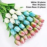 JHZHK 31pieces ArtificielleBranche de Fleurs TulipeReal Touch Fleurs Latex Tulipes Fleur Artificielle Bouquet Faux Fleur Bouquet de mariéecomme Image Couleur