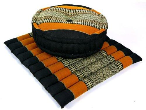 livasia Yogaset bzw. Meditationsset: 1 x Zafukissen (Yogakissen) + 1 x Sitzkissen (Meditationskissen) mit Kapokfüllung (dunkelblau/orange)