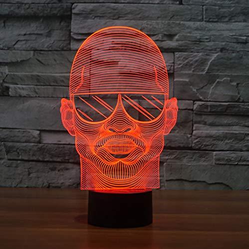 Night Lights Visuelle Illusionslampe Colorful Vision 3d Führt Nachtbeleuchte Tragen Sonnenbrille Man Styling Lampe Schlafzimmer Usb-lampe Dekorative Nachttischlampe
