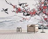HONGYAUNZHANG Schwarze Vogel Pflaumenblüte Benutzerdefinierte Fototapete 3D Stereoskopischen Wandbild Wohnzimmer Schlafzimmer Sofa Hintergrund Wandmalereien,110Cm (H) X 190Cm (W)