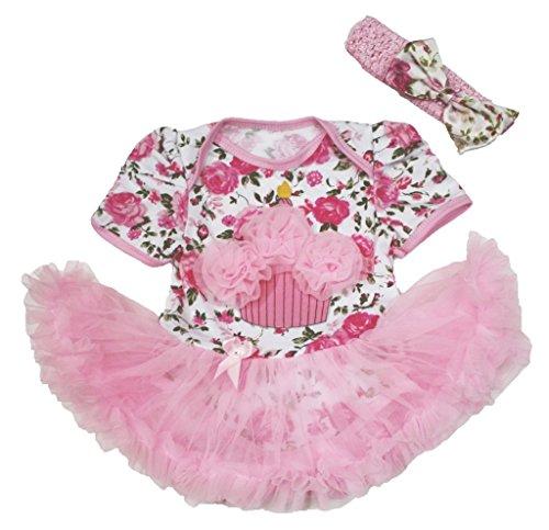 Petitebelle Birthday Dress Cupcake Floral Bodysuit Pink Tutu -