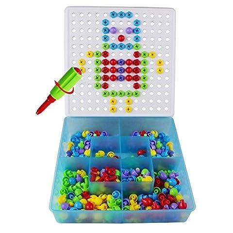 Bausteine Mosaik Steckspiel mit Schraube Kreativset für Kinder ab 3 jahre,352 pcs (Spiel Des Jahres Liste)