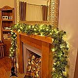Garden Mile Luxus XL dickes 6.5ft LUXUS vor Licht verziert Weihnachten dekorativ Girlande mit 40 warmes Weiß LED`s und Eicheln rundum 2m lang