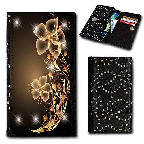 Strass Book Style Flip Handy Tasche Case Schutz Hülle Foto Schale Motiv Etui für Alcatel OneTouch Idol 3 - 4,7 Zoll - Flip SU2 Design3