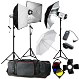 BPS 900W Studio Flash Light Set Softbox Lighting Kit 3x 300DI Studio Light, Barn Doors w/ 4 filters, A wireless radio 16-channel trigger set, Umbrellas, Light Stands, Soft Boxes- photography lighting