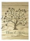 Livingstyle & Wanddesign Rustikales Gästebuch aus Holz zur Hochzeit mit Namen und Datum, Baum Eulen (Motiv 1, 160 Seiten/80 Blatt)