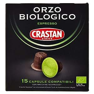 Crastan Capsule Compatibili Nespresso Orzo Biologico - 2 confezioni da 15 pezzi da 2.7 g [30 pezzi, 80.1 g]