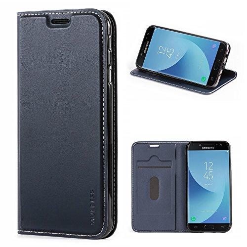 Mulbess Samsung Galaxy J7 2017 Hülle Klappbar, Handyhülle für Samsung Galaxy J7 Duos 2017 Tasche Leder Flipcase mit Magnetverschluss, Dunkel Blau