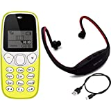 IKALL K71 Mobile Phone, Neckband Combo With Vibration Feature, 800 MAh Battery (Yellow)