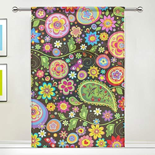 CPYang Vorhang, Ethnische Blumen, Paisley-Voile, Vorhang für Wohnzimmer, Schlafzimmer, Tür, Küche, 139,7 x 198 cm, 1 Paneel, Textil, Multi, 55 x 78 inch - Voile Paisley