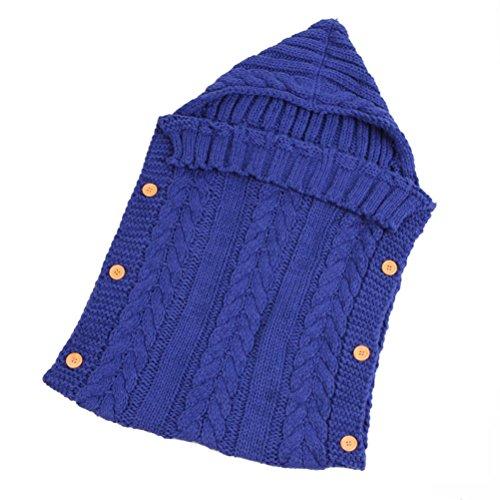LUOEM Baby Wrap Swaddle Blanket Neugeborenes Baby Kleinkind Häkeldecke Decke Swaddle Schlafsack Schlafsack Kinderwagen Wrap Fotografie Requisiten (blau)