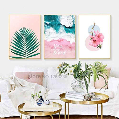 CFGCH Pink Peach Blossom Nordic Poster Sea Leaf Wall Art Canvas Painting Posters and Prints Wall Pictures for Living Room Unframed,20X25Cm No Frame,D-3 Pieces - Blossom Room Spray