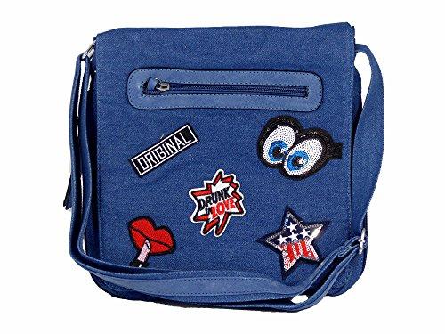 Umhängetasche Jeans Style mit aufgenähten Patches Stern Comic Augen Kußmund - Damen Mädchen Teenager Tasche (blau 25x25) (Floral Verziert Denim)