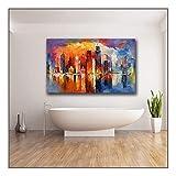 XIAOXINYUAN Großformat Druck Ölgemälde Schönen Abend New York Wandkunst Leinwand Drucken Bilder Für Wohnzimmer und Schlafzimmer Kein Rahmen 60 × 120 cm